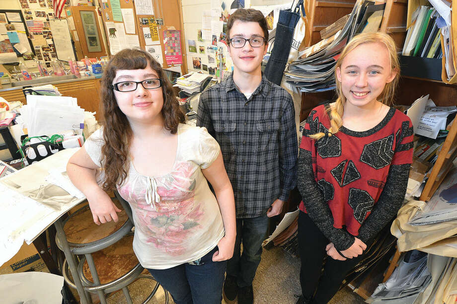 Hour Photo/Alex von Kleydorff ScholasticArt Awards winners from Norwalk High School, L-R Michaela Lignelli, Sam Zaref and Maeve Bustell