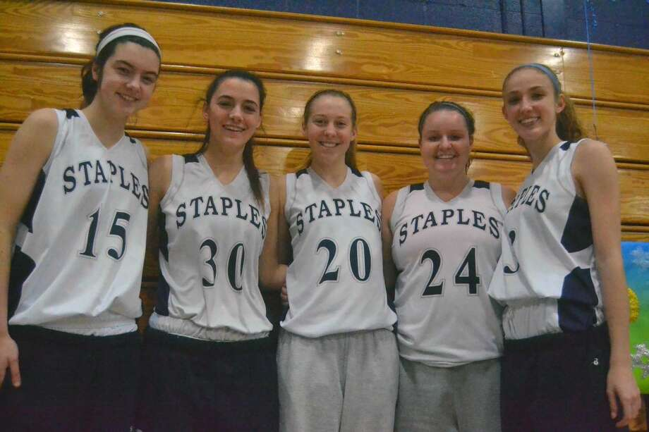 Staples' seniors from left: Madeline Schemel, Sarah Mahoney, Tessa Mall, Maddie Fair and Abby Lustig helped lead the Wreckers back to the state tournament. (Hour photo/Pete Paguaga)