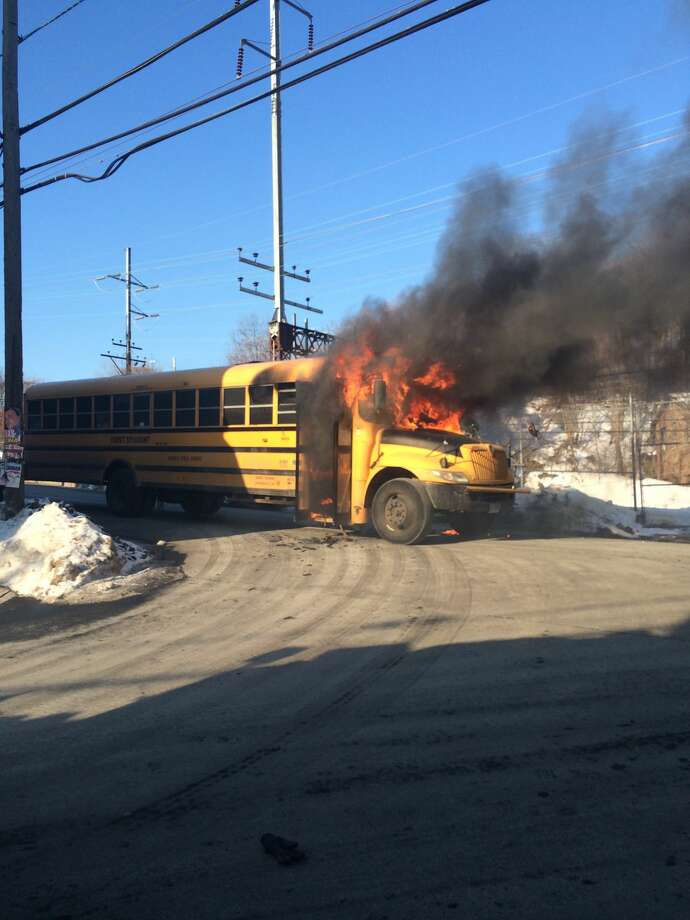 Contributed photo by Norwalk Fire DepartmentBus catches fire in South Norwalk. All passengers evacuated safely.