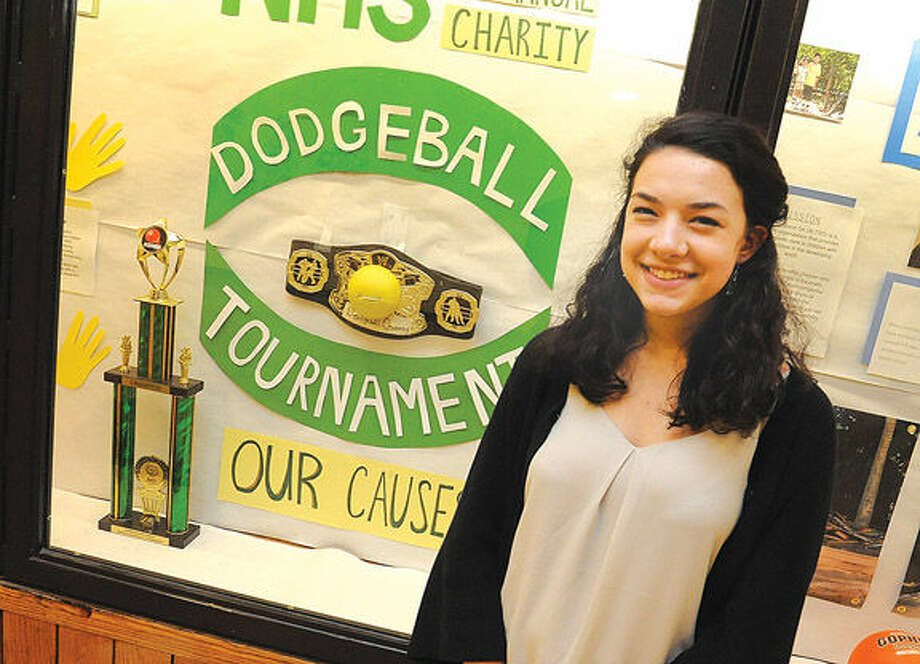 Ava Rosato is head of the dodgeball committee. The Game will be held at Norwalk High Schoool on Wednesday. Hour photo/Matthew Vinci