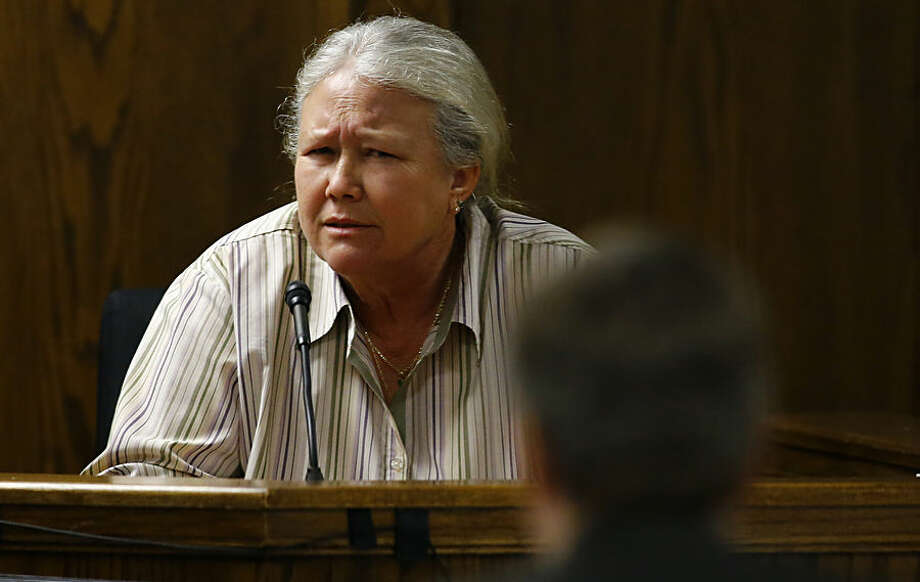 Donna Taylor, a family friend and former employer of Eddie Ray Routh, testifies in the capital murder trial of the former Marine Cpl. at the Erath County, Donald R. Jones Justice Center in Stephenville, Texas, Wednesday, Feb. 18, 2015. Routh, 27, of Lancaster, is charged with the 2013 deaths of former Navy SEAL Chris Kyle and his friend Chad Littlefield at a shooting range near Glen Rose, Texas. (AP Photo/Mike Stone, Pool)
