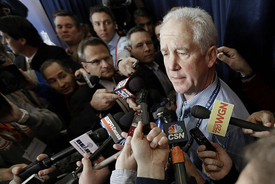 Chicago Bears coach John Fox answers a question after a news conference at the NFL football scouting combine in Indianapolis, Wednesday, Feb. 18, 2015. (AP Photo/David J. Phillip)