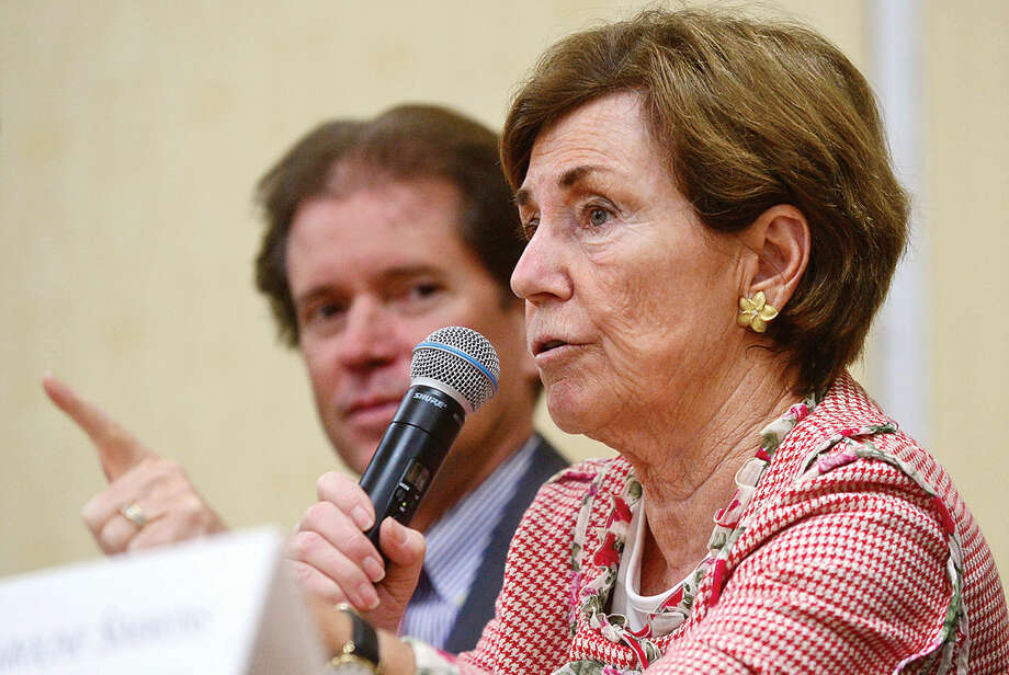 Hour photo / Erik Trautmann State Representative Livvy Floren discusses the current state of Connecticut during Stamford's legislative delegation annual breakfast Wednesday at the Stamford Sheraton Hotel. The annual breakfast is sponsored by the Stamford Chamber of Commerce.