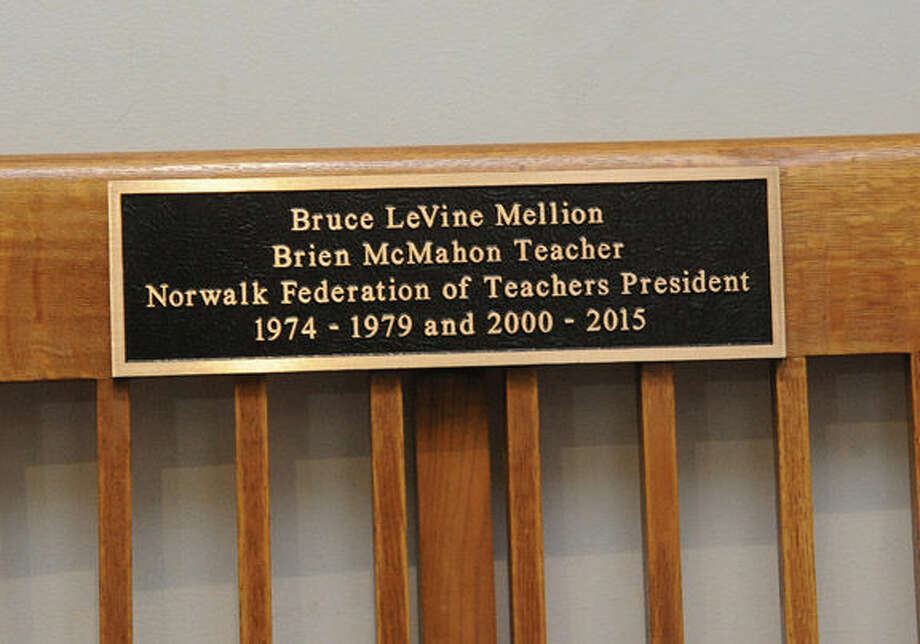 The bench outside of the Board of Education room at Norwalk City Hall dedicated Tuesday to Bruce Mellion former Norwalk federation of teachers president. Hour photo/Matthew Vinci