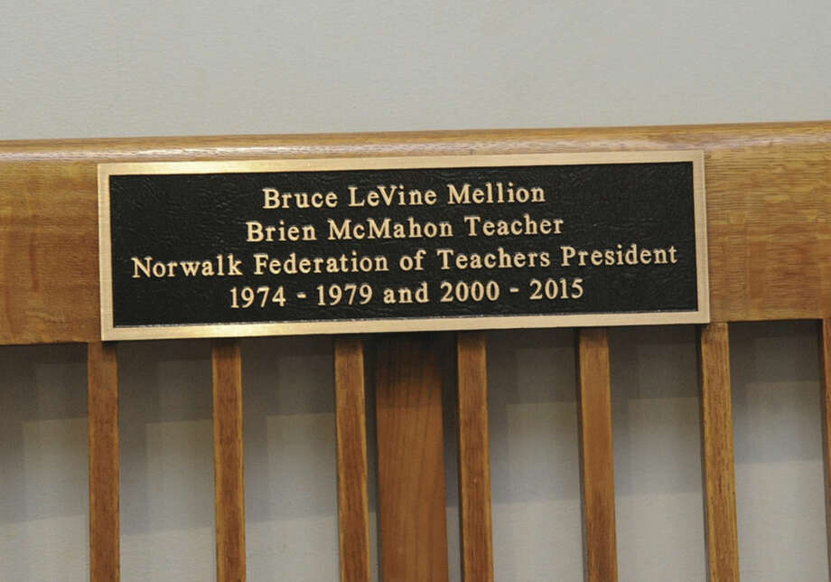 Hour photo/Matthew VinciThe bench outside the Board of Education room at Norwalk City Hall was dedicated Tuesday to Bruce Mellion, former Norwalk Federation of Teachers president.