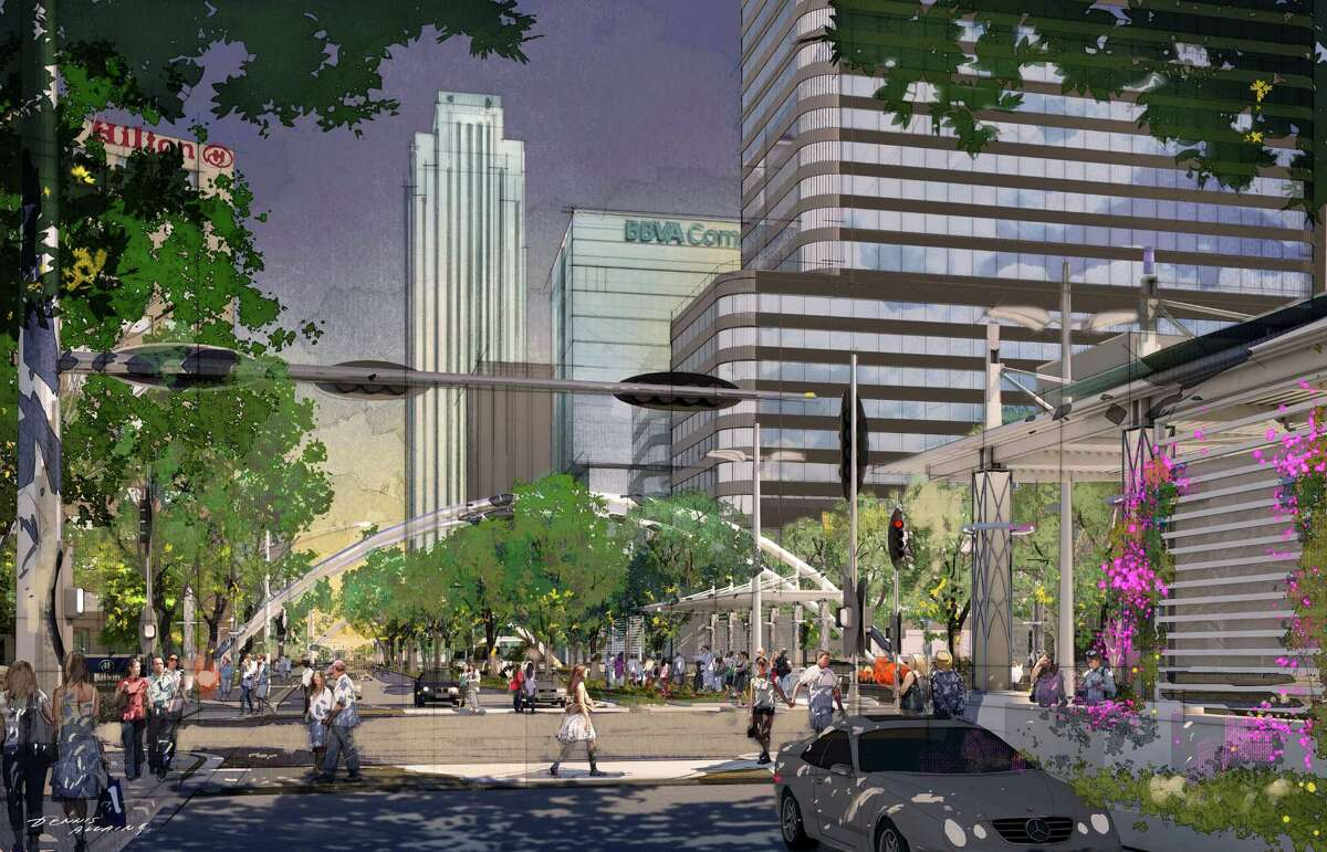 A rendering of Post Oak Boulevard as it will appear after the Uptown Dedicated Bus Lanes Project is completed in 2018. The project will replace the current median with north- and south-moving bus lanes and shelters, keeping six lanes of car traffic (3 on each side), with sidewalks expanded to 12 feet, new tower lighting fixtures and landscaping that will include 800 large new 'Cathedral' live oak trees to create a pedestrian-friendly atmosphere. The project is organized by the Uptown Houston Association, Harris County Improvement District I, the Uptown Houston TIRZ and the Uptown Development Authority.
