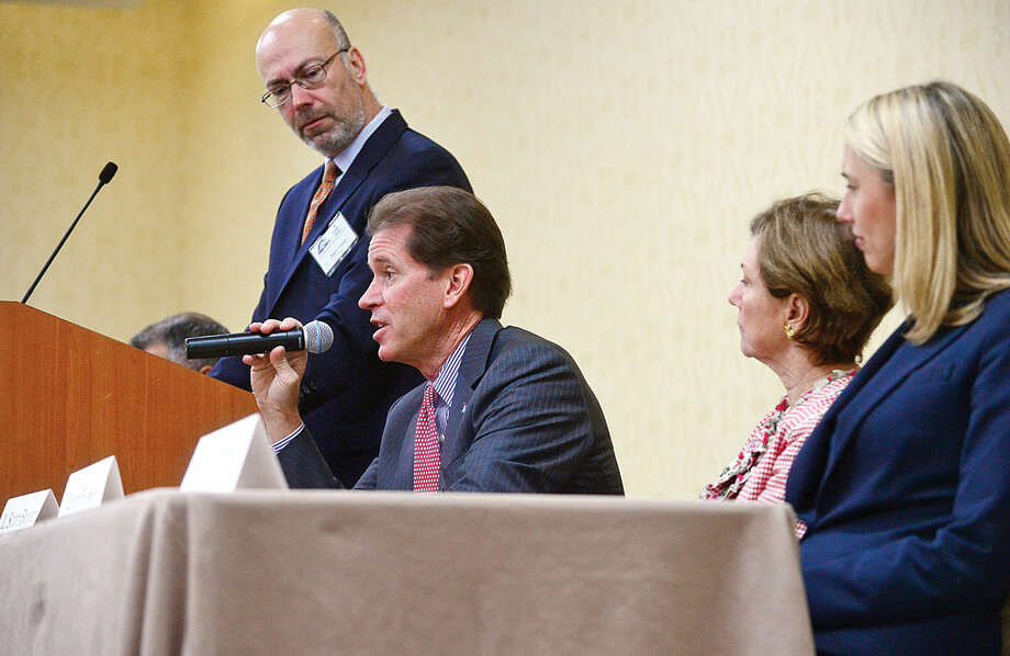 Hour photo / Erik Trautmann State Senator Scott Franz discusses the current state of Connecticut during Stamford's legislative delegation annual breakfast Wednesday at the Stamford Sheraton Hotel. The annual breakfast is sponsored by the Stamford Chamber of Commerce.