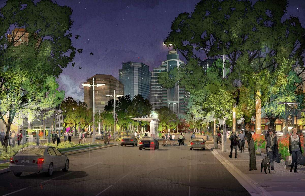 A rendering of Post Oak Boulevard as it will appear after the redevelopment project organized by the Uptown Houston Association, Harris County Improvement District I, the Uptown Houston TIRZ and the Uptown Development Authority. Eight hundred oak trees will be planted in the area and over time, it is hoped the trees will serve as a natural canopy.