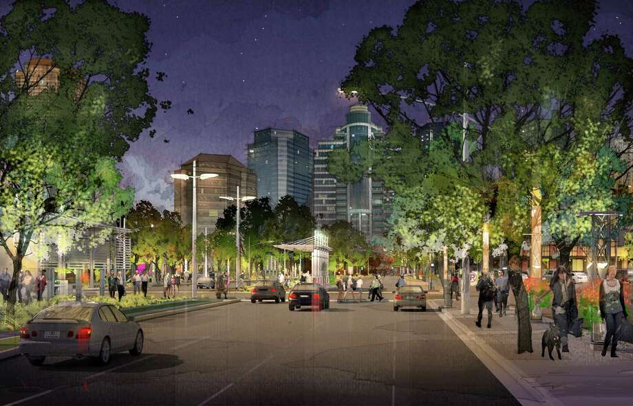 A rendering of Post Oak Boulevard as it will appear after the redevelopment project organized by the Uptown Houston Association, Harris County Improvement District I, the Uptown Houston TIRZ and the Uptown Development Authority. Eight hundred oak trees will be planted in the area and over time, it is hoped the trees will serve as a natural canopy. Photo: Uptown Houston
