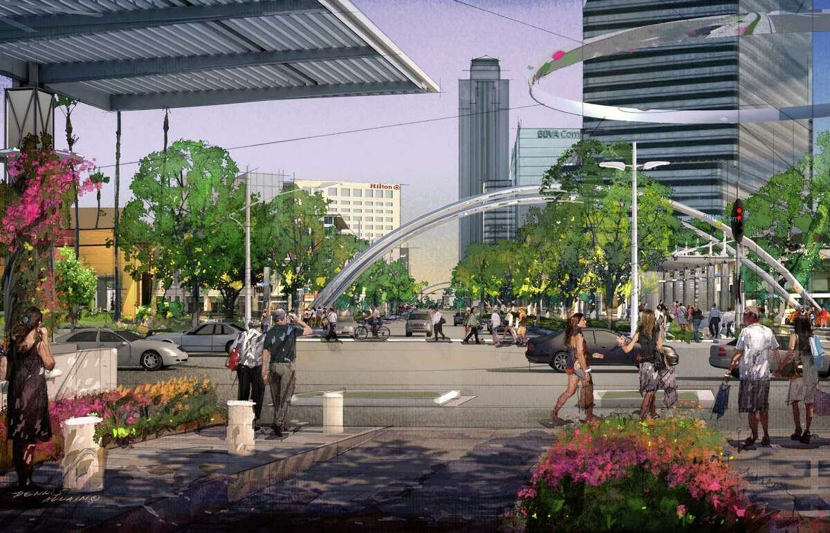 A rendering of Post Oak Boulevard as it will appear after the Uptown Dedicated Bus Lanes Project is completed in 2019.