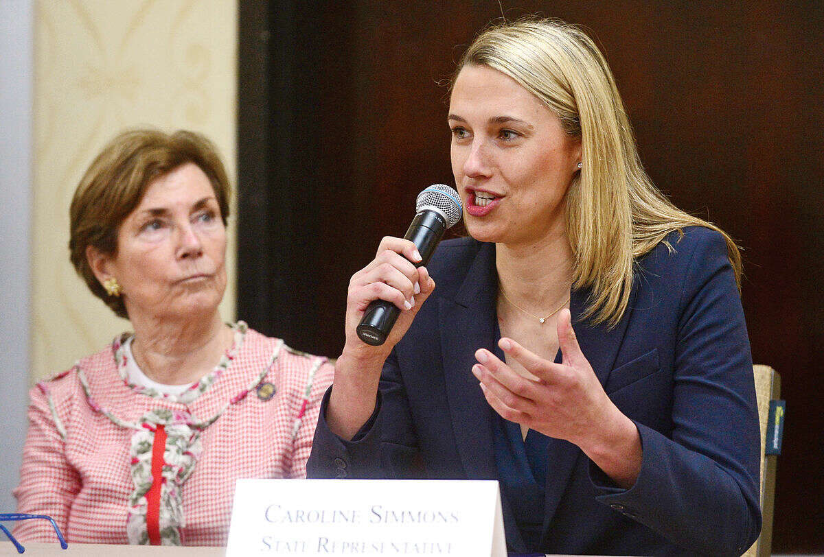 Hour photo / Erik Trautmann State Representative Caroline Simmons discusses the current state of Connecticut during Stamford's legislative delegation annual breakfast Wednesday at the Stamford Sheraton Hotel. The annual breakfast is sponsored by the Stamford Chamber of Commerce.