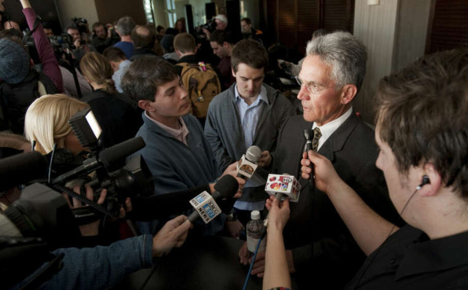 Missouri Athletic Director Mike Alden talks to reporters, Monday, Feb. 10, 2014 at Memorial Stadium in Columbia, Mo. He was commenting on Michael Sam, Missouri's All-American defensive end, who declared publicly on Sunday that he is gay and could become the first openly homosexual player in the NFL. (AP Photo/L.G. Patterson)