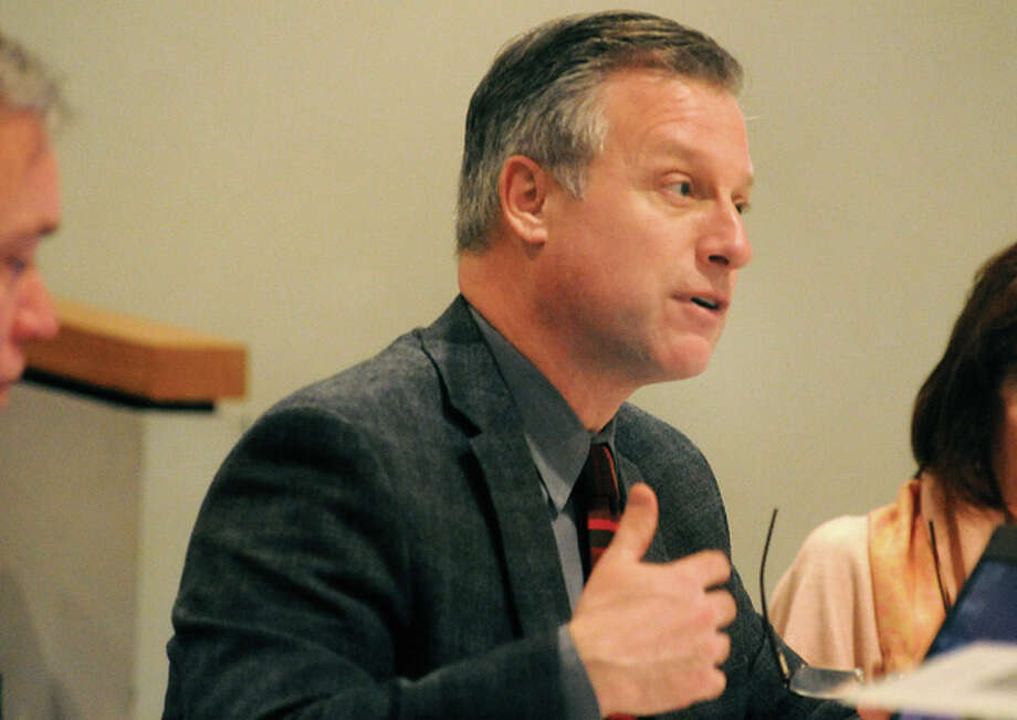 Finance Director Thomas S. Hamilton, after reviewing school and city spending requests, presents his recommended 2014-2015 operating budget to Board of Estimate and Taxation on Monday at Norwalk City Hall. Hour photo/Matthew Vinci