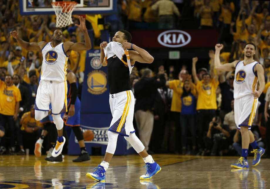 Golden State Warriors' Stephen Curry celebrates his 3-pointer in final minute of 96-88 win over Oklahoma City Thunder in Game 7 of NBA Playoffs' Western Conference finals at Oracle Arena in Oakland, Calif., on Monday, May 30, 2016. Photo: Scott Strazzante, The Chronicle