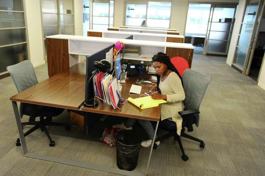Stamford resident Janay Coplon, who works for Sunset Lane Entertainment, works at her desk at Workpoint, a local shared workspace for startup and creative companies in Stamford, Conn. on Wednesday, June 8, 2016. Photo: Michael Cummo / Hearst Connecticut Media / Stamford Advocate