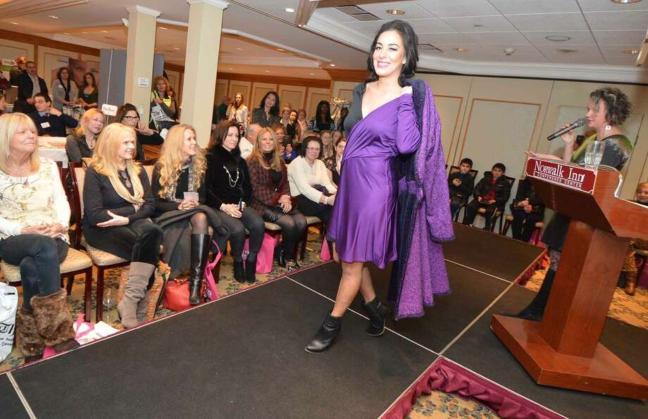 Hour Photo/Alex von Kleydorff The latest designs from Jennifer Butler on the runway at Beauty and the Bubbly Friday night at The Norwalk Inn and Conference Center