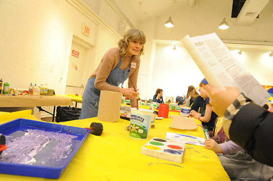 Megan Collins, drawing and painting teacher at the Silvermine Arts Center Summer Camp Open House. Hour photo/Matthew Vinci