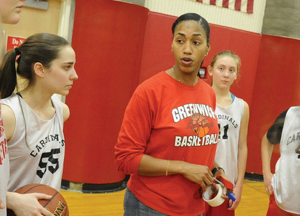 Chrys Hernandez, a 2001 graduate of Brien McMahon, where she played basketball and helped lead the Senators to the state finals is now the head coach of the Greenwich High girls basketball team. Hour photo/Matthew Vinci