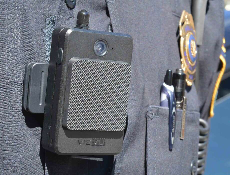 One of the Wilton Police Department's new VIEVU body cameras.