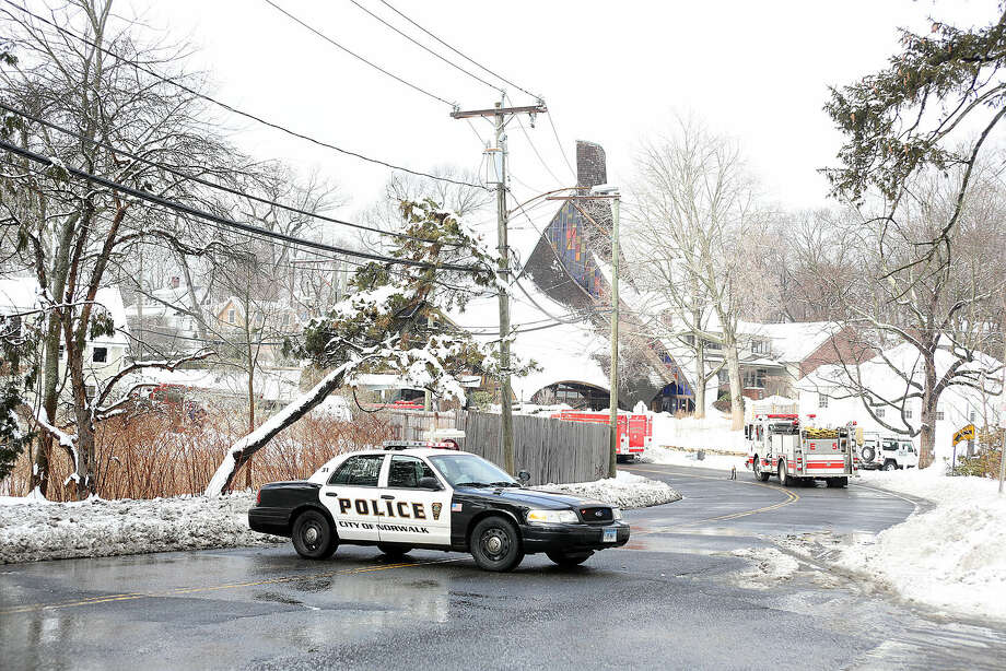 The scene of a structure fire at 209 Rowayton Avenue in Norwalk Sunday afternoon.