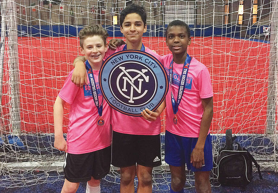 Finnegan Bergin, Yasin Choukri and Nathan Bennett (pictured left to right) all played for FC Rossanese, which won this exciting tournament 4-3 on penalty kicks against LS Select FC Scorpions.