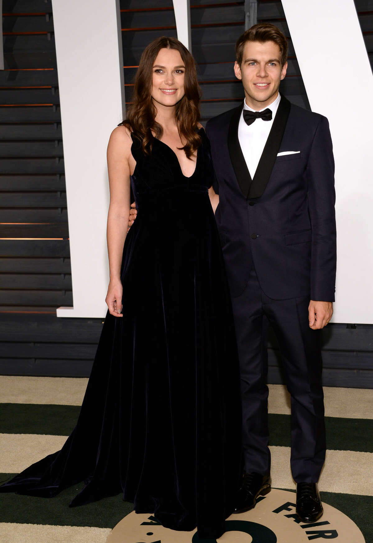 Keira Knightley, left, and James Righton arrive at the 2015 Vanity Fair Oscar Party on Sunday, Feb. 22, 2015, in Beverly Hills, Calif. (Photo by Evan Agostini/Invision/AP)