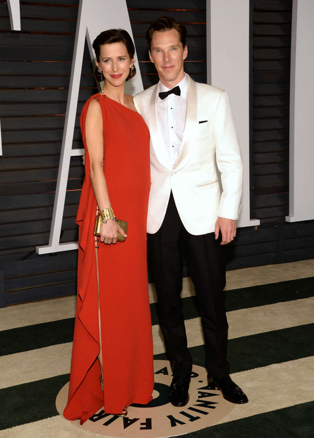 Sophie Hunter, left, and Benedict Cumberbatch arrive at the 2015 Vanity Fair Oscar Party on Sunday, Feb. 22, 2015, in Beverly Hills, Calif. (Photo by Evan Agostini/Invision/AP)