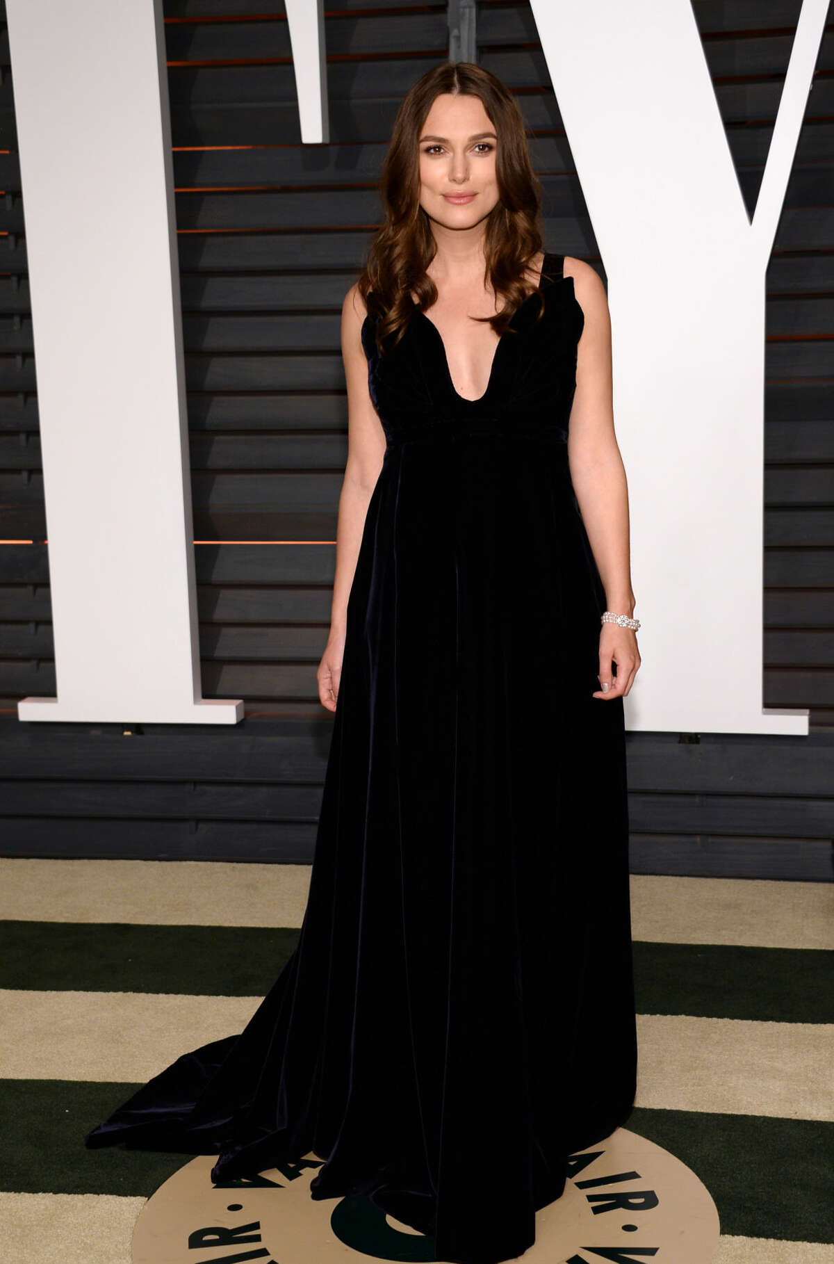 Keira Knightley arrives at the 2015 Vanity Fair Oscar Party on Sunday, Feb. 22, 2015, in Beverly Hills, Calif. (Photo by Evan Agostini/Invision/AP)