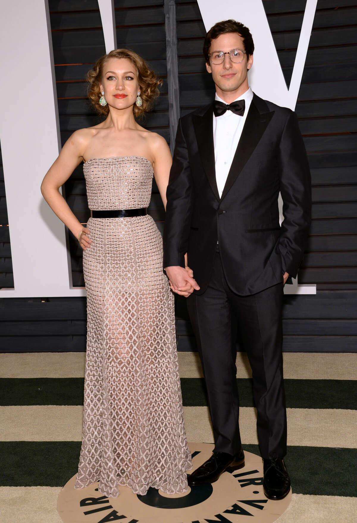 Joanna Newsom, left, and Andy Samberg arrives at the 2015 Vanity Fair Oscar Party on Sunday, Feb. 22, 2015, in Beverly Hills, Calif. (Photo by Evan Agostini/Invision/AP)