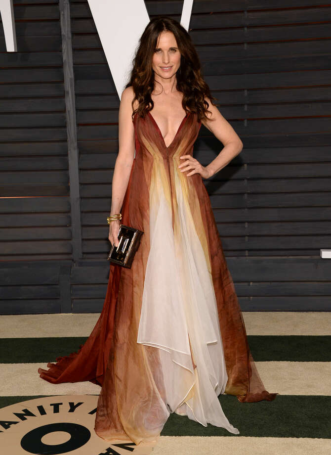 Andie MacDowell arrives at the 2015 Vanity Fair Oscar Party on Sunday, Feb. 22, 2015, in Beverly Hills, Calif. (Photo by Evan Agostini/Invision/AP)