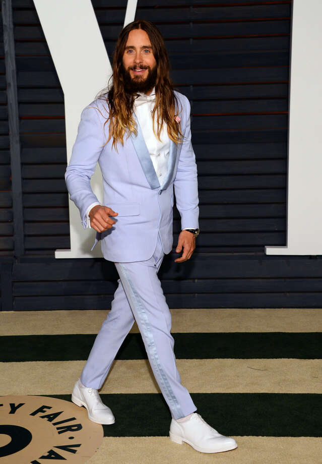 Jared Leto arrives at the 2015 Vanity Fair Oscar Party on Sunday, Feb. 22, 2015, in Beverly Hills, Calif. (Photo by Evan Agostini/Invision/AP)