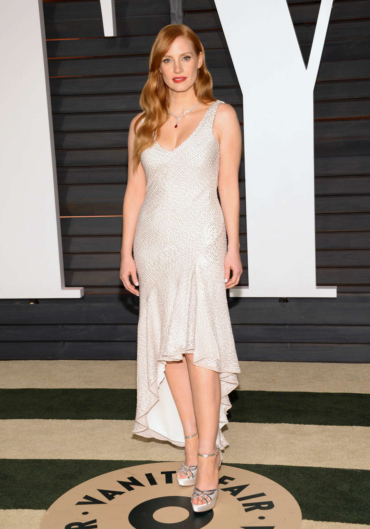 Jessica Chastain arrives at the 2015 Vanity Fair Oscar Party on Sunday, Feb. 22, 2015, in Beverly Hills, Calif. (Photo by Evan Agostini/Invision/AP)