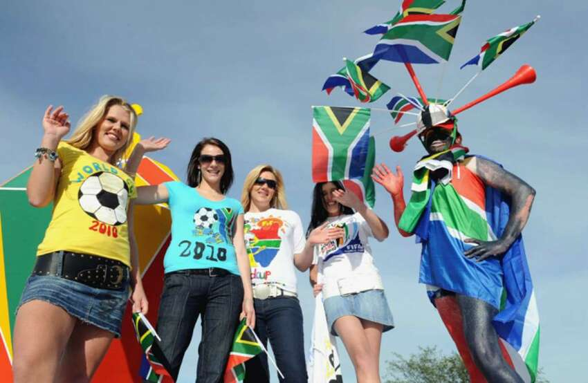 KIMBERLEY, SOUTH AFRICA - APRIL 21: (NO SALES) In this handout image provided by the 2010 FIFA World Cup Organising Committee South Africa, A general view of fans during the FIFA 2010 OC 50 days celebrations on April 21, 2010 in Kimberley, South Africa. (Photo by 2010 FIFA World Cup Organising Committee South Africa via Getty Images)