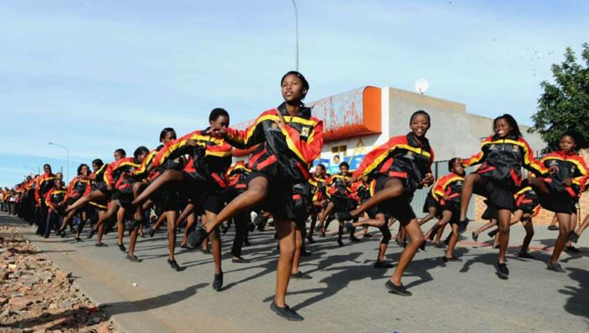 KIMBERLEY, SOUTH AFRICA - APRIL 21: (NO SALES) In this handout image provided by the 2010 FIFA World Cup Organising Committee South Africa, A general view of dancers during the FIFA 2010 OC 50 days celebrations on April 21, 2010 in Kimberley, South Africa. (Photo by 2010 FIFA World Cup Organising Committee South Africa via Getty Images)