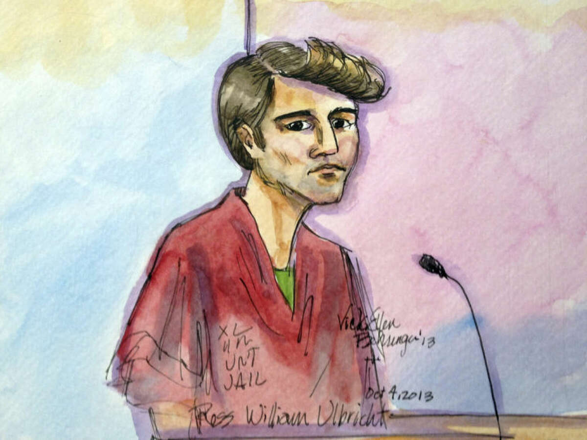 FILE- In this Oct. 4, 2013 file photo, an artist rendering depicts Ross William Ulbricht during an appearance at federal court in San Francisco. Authorities say that Ulbricht had spent most of three years
