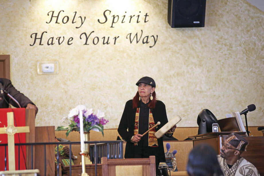Cecelia Lael Calloway, Cab Callaway's daughter, plays percussion during St. James Church's Black History event Sunday afternoon.Hour Photo / Danielle Calloway
