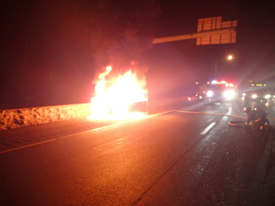 Car fire in Westport on I-95, Sunday, Feb. 22.