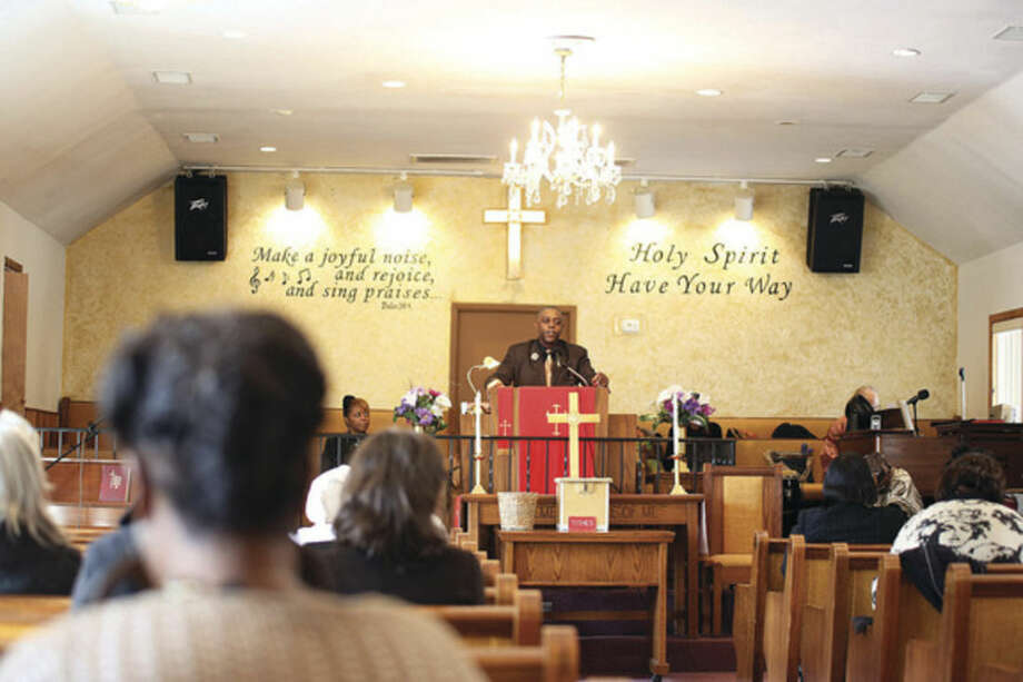 The Reverend DuBose preaches during St. James Church's Black History event Sunday afternoon.Hour Photo / Danielle Calloway