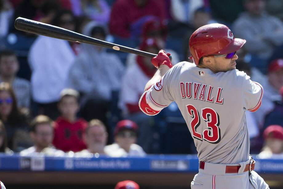 Adam Duvall is among the NL leaders in home runs and slugging percentage, and he's been surprisingly good in left field. Photo: Chris Szagola, Associated Press