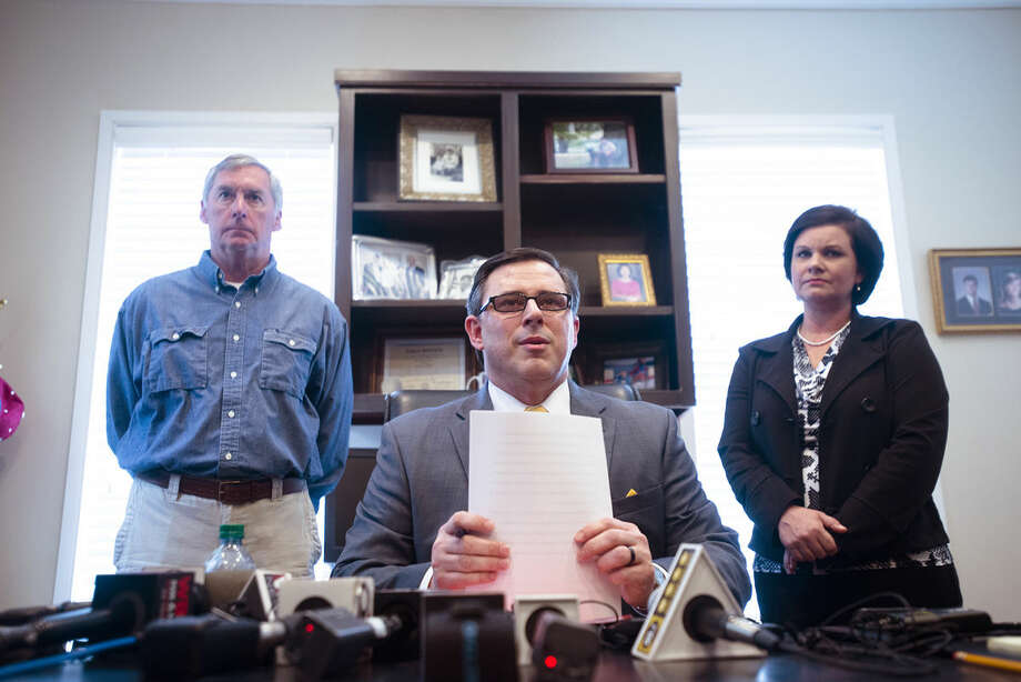 Spencer Collier, former head of the Alabama Law Enforcement Agency, holds a press conference about his termination from his position on Wednesday, March 23, 2016, in Montgomery, Ala. Gov. Robert Bentley announced Tuesday that he is terminating Collier as the head of the Alabama Law Enforcement Agency. The decision came hours after the acting head of ALEA says there was an ongoing investigation into the possible misuse of state funds within the agency. (Albert Cesare/Montgomery Advertiser via AP)