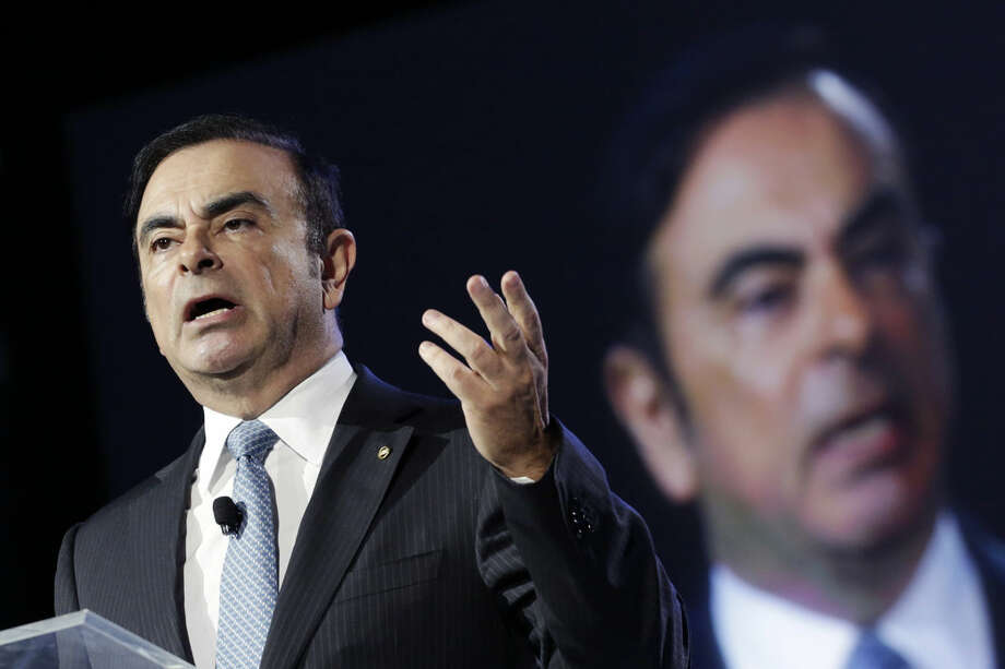 Carlos Ghosn, the Chairman and CEO of both Nissan and Renault, speaks at the New York International Auto Show, Wednesday, March 23, 2016, in New York. (AP Photo/Mark Lennihan)