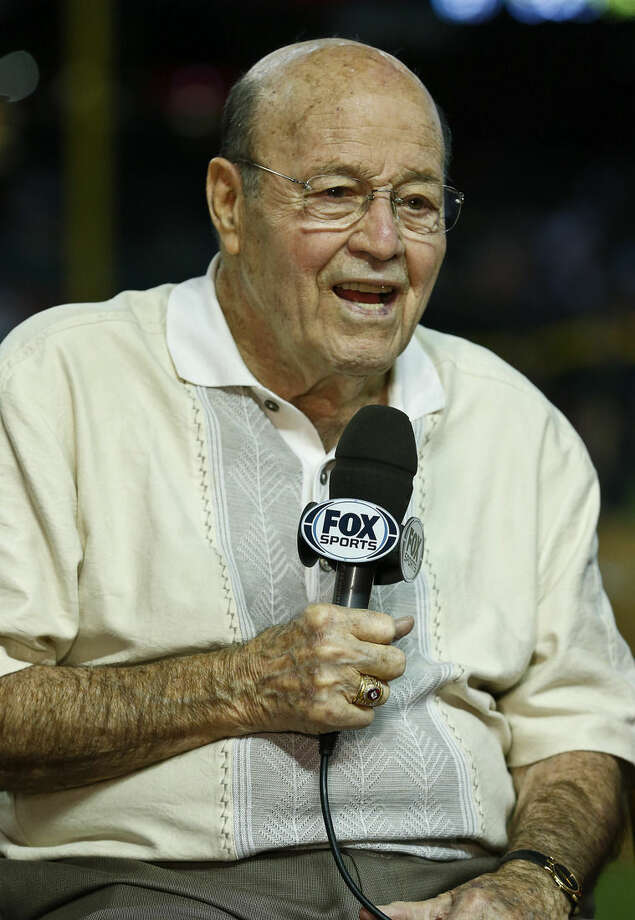 FILE - In this April 14, 2013, file photo, Arizona Diamondbacks broadcaster Joe Garagiola speaks during a pregame show prior to a baseball game against the Los Angeles Dodgers, in Phoenix. Former big league catcher and popular broadcaster Joe Garagiola has died. He was 90. The Arizona Diamondbacks say Garagiola died Wednesday, March 23, 2016. He had been in ill health in recent years. (AP Photo/Ross D. Franklin, File)
