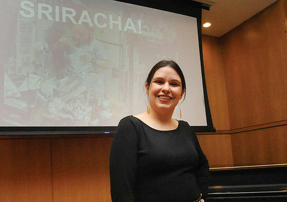 "Sarah Lohman is a ""historic gastronomist"" presenting her research on the history of Sriracha at Darien Library Tuesday night. Hour photo/Matthew Vinci"