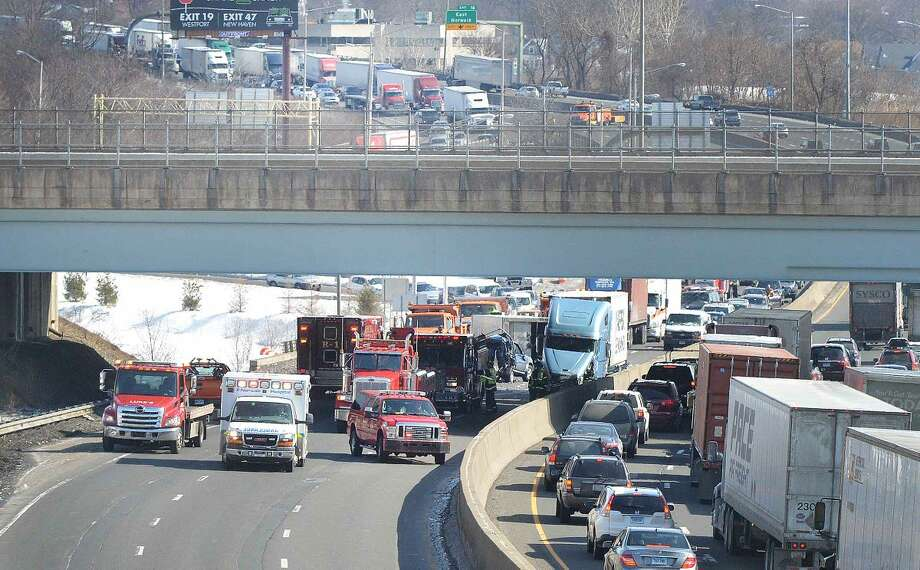 Hour Photo/Alex von Kleydorff Accident closes southbound I 95 just north of exit 15 in Norwalk on Tuesday morning