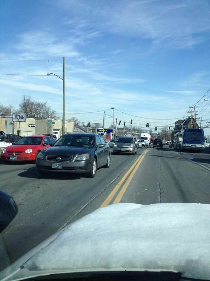 Traffic can be seen backing up on Connecticut Avenue on Norwalk after an accident on I-95 in Norwalk.