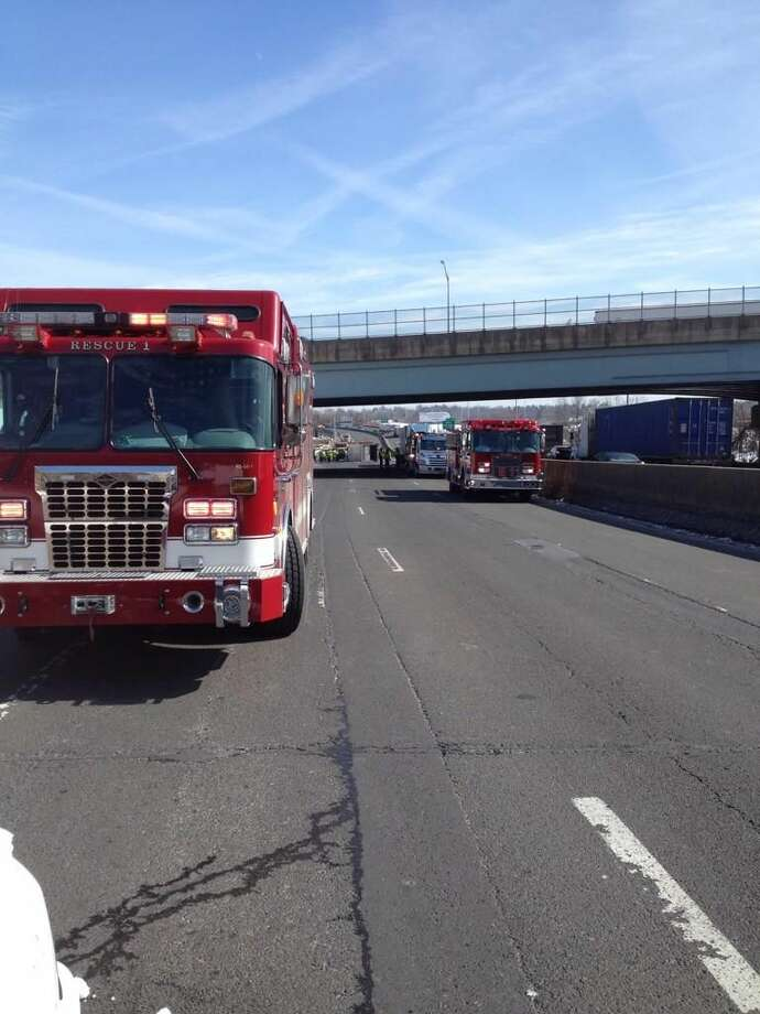 Fire crews and police respond to accident on I-95.