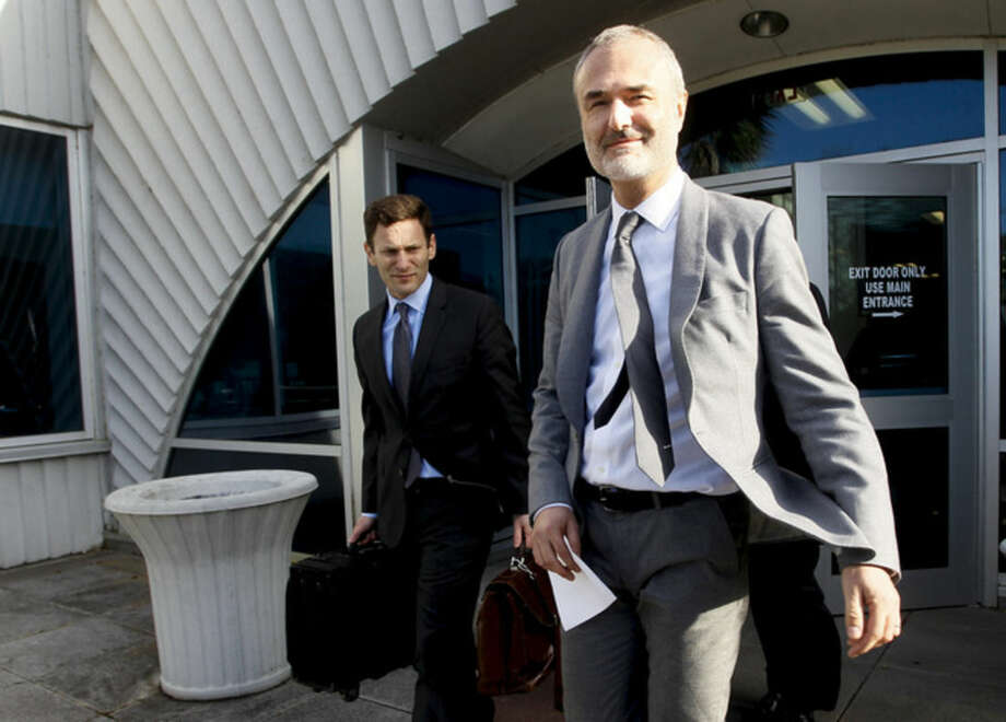 Nick Denton, founder of Gawker, leaves the courthouse after a jury returned its decision Monday, March 21, 2016, in St. Petersburg, Fla. A jury has hit Gawker Media with $15 million in punitive damages and its owner with $10 million, adding to the $115 million it awarded last week for publishing a sex video of Hulk Hogan. (Dirk Shadd/The Tampa Bay Times via AP) TAMPA OUT; CITRUS COUNTY OUT; PORT CHARLOTTE OUT; BROOKSVILLE HERNANDO TODAY OUT; MANDATORY CREDIT