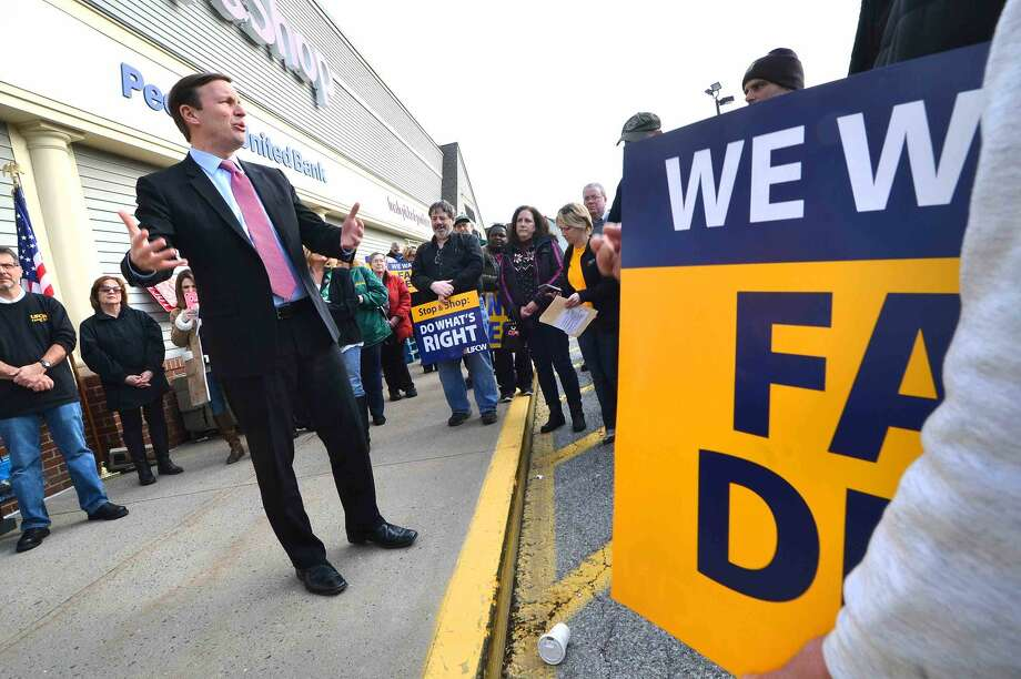 Hour Photo/Alex von Kleydorff US Senator Chris Murphy adresses the crowd during a rally for better wages, benefits and respect for Union Local 371 Stop & Shop workers at the Main Ave. Norwalk location