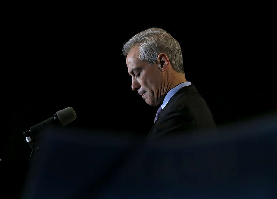 "Chicago Mayor Rahm Emanuel pauses as he talks to supporters after he was unable to get a majority vote in the Chicago mayoral election, forcing a runoff election in April against Jesus ""Chuy"" Garcia. Tuesday, Feb. 24, 2015, in Chicago. (AP Photo/Charles Rex Arbogast)"
