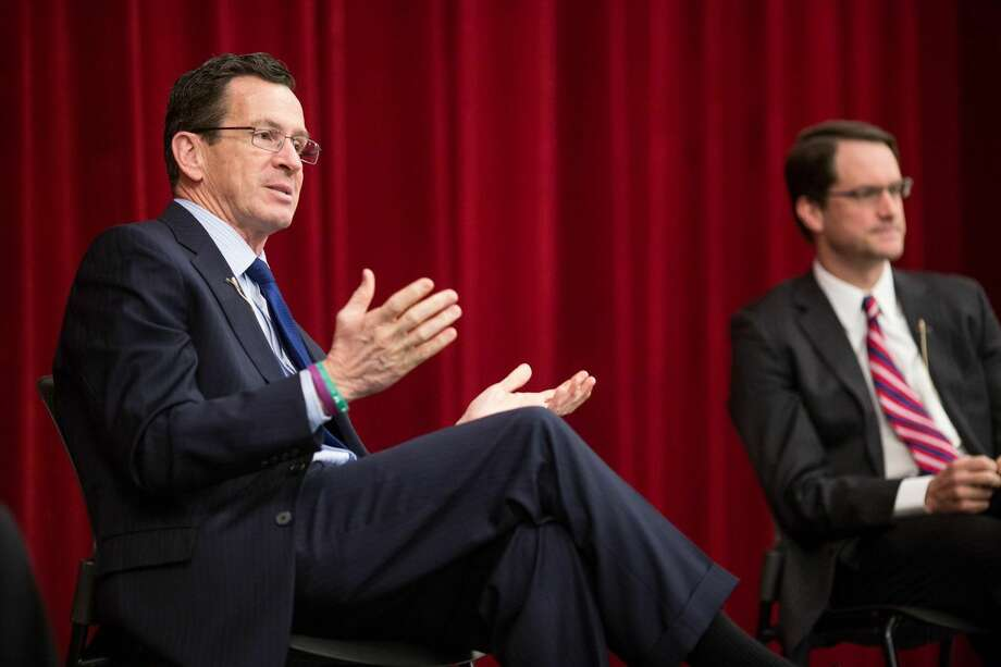 Gov. Dannel P. Malloy addresses the senior class of Stamford High School at an assembly on Tuesday morning.